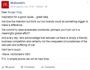 El rechazo de McDonald's a Burger King